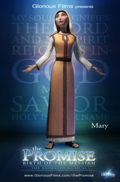 Character poster of Mary, the mother of Jesus. Mary is portrayed in The Promise as a real person with a big faith in a big God.